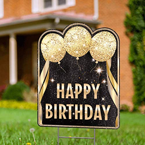 Double Sided Happy Birthday Yard Signs with Stakes - 17 x 13 Happy Birthday Lawn Sign with Stakes Included - Gold Yard Birthday Sign - Outdoor Birthday Yard Decorations & Happy Birthday Signs for Yard