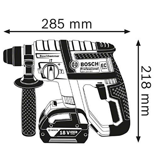 Bosch Professional 18V System Akku Bohrhammer GBH 18 V-EC (SDS Plus, Bohr-Ø max.: Beton/Stahl/Holz 18/13/20 mm, in L-Boxx)