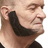 Mustaches Realistic, L Shaped Fake Mutton Chops Sideburns, Black