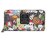 Loungefly x Nightmare Before Christmas Chibi Character Print Zip-Around Wallet (Multi, One Size)