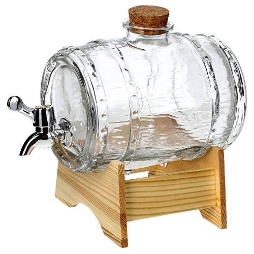 KADAX Fass mit Hahn, fassförmiger Getränkespender aus Glas 1-3L, Fass mit Zapfhahn, transparenter Spender mit Holzuntersatz, Alkoholspender ideal für Whisky, Brandy, Säfte, Limonade (1,5L)