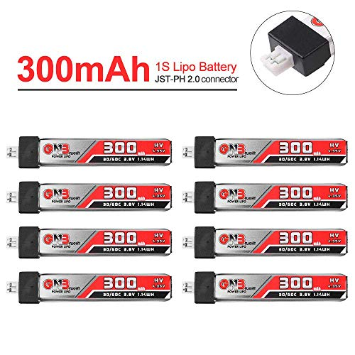 GAONENG 300mAh 1S LiPo Battery 30C 3.8V/4.35V LiHv Battery with JST-PH 2.0 Connector for Mobula 7 Tiny Whoop US65 UK65 65mm Whoop FPV Racing Drone 8PCS