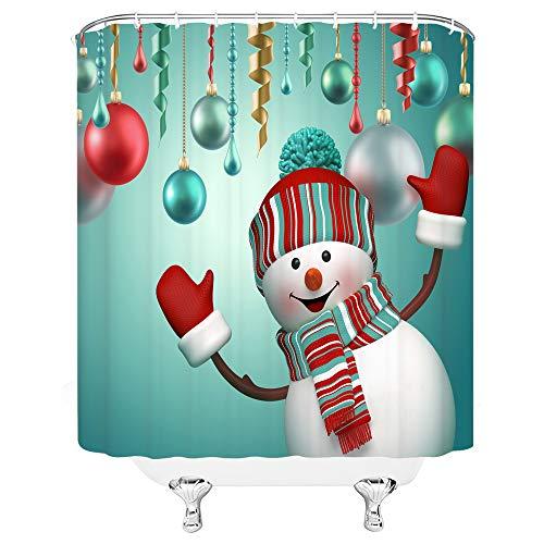 Xnichohe Christmas Shower Curtain Happy Snowman Colorful Swirls and Balls Pleasant Feel Cloth Fabric Bathroom Decor Set with Hooks 70 Inches Red Aqua