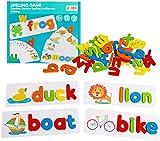 Afufu Juego de Alfabeto, Juguetes Montessori niños 3+años, Alfabeto Rompecabezas de Madera, Puzzles Educativos para Bebé niños niña 3 4 5 6 7 años(28 Tarjetas y 52 Letras del Alfabeto)