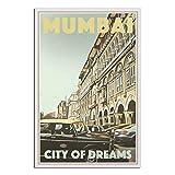 Mumbai India Vintage Reise-Poster Auto Leinwand Kunst