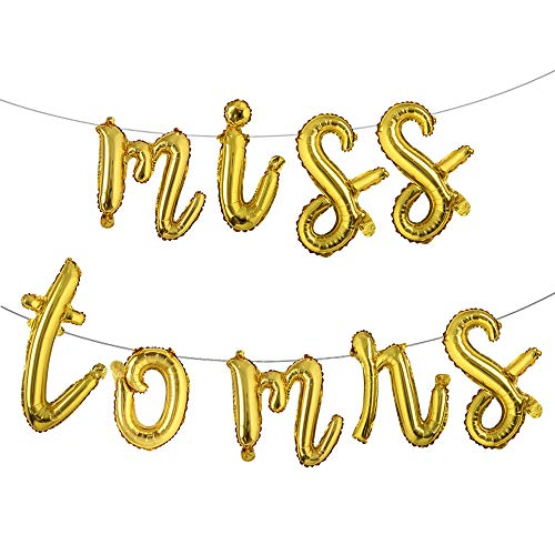 16 inch Lowercase Multicolor Miss to MRS Balloons Banner Foil Letters Mylar Balloons for Bachelorette Party, Wedding, Bridal Shower (L Miss to mrs Gold)