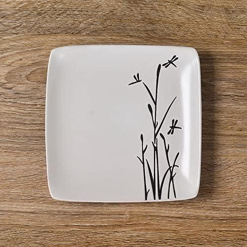 Serviesgoed Servies Taartborden 8,5 inch keramisch servies zwart en wit handgeschilderde platte plaat diepe schotel fruit steak vierkante schotel plaat