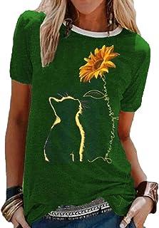 Kewing T-Shirt da Donna con Stampa Gatto e Girasole T-Shirt a Maniche Corte Taglie Forti Comoda Maglietta Comoda Allentata