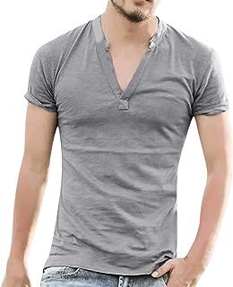 Jumaocio Men Linen Solid Short Sleeve Button V Neck Pocket T Shirts Tops