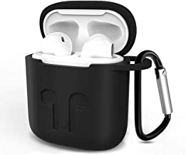 HSWAI Airpods Case Protective Silicone Cover and AirPods Accessories Shockproof Case Compatible with Apple Airpods 1 & AirPods 2.(Black)