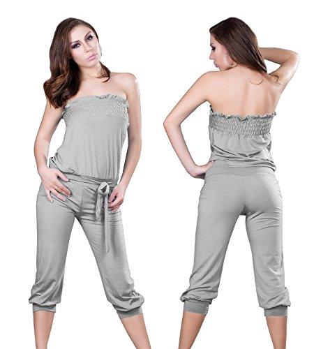 Dames jumpsuit overall eendelig broekpak badmode Catsuit grijs joggingpak maat S/M