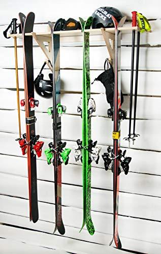 AKR Skiträger aus Holz zur Aufbewahrung von Ski an der Wand, Garage, für Innen- und Außenbereich, für Ski- und Außenbereiche