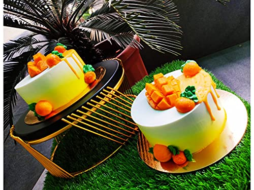 Handicraft Studio Beautiful Compact Cake Stand, Buffet Server with Black Top