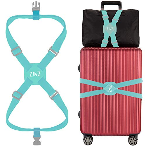 Luggage Strap, ZINZ High Elastic Suitcase Adjustable Belt Bag Bungees With Buckles And More Applications (Yellow-001)