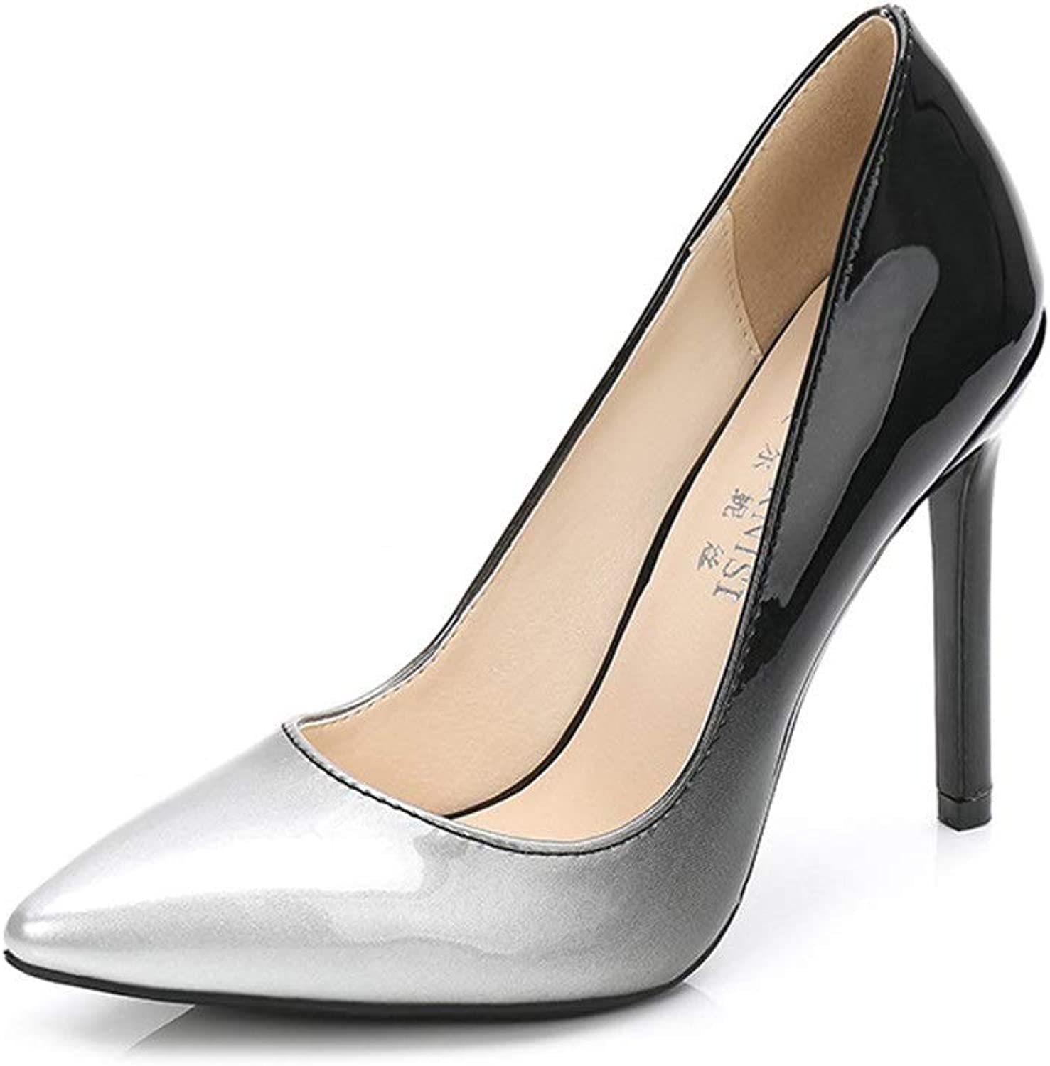 Women's Pointed High Heels Stiletto Closed Gradient Printed Patent Leather Pumps Court shoes Wedding shoes (11cm)