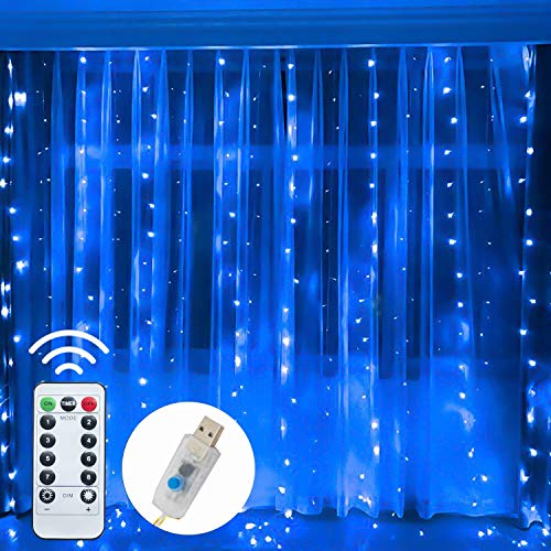 Funpeny Window Curtain String Lights, 300 LED 8 Lighting Modes Fairy Lights USB Powered, Waterproof Lights for Christmas Bedroom Party Wedding Home Garden Wall Decorations, Blue