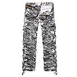 LANBAOSI Casual Pantalon de Travail Style Cargo avrc Multipoches pour Homme Tenue De Camouflage Militaire Cargo Sports De Combat Camouflage Gris Asie 36/FR 46