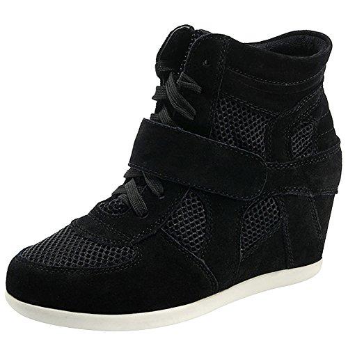 Rismart Mujer Zapatos Formal Oculto Tacón Cuña Gamuza Tela Zapatillas (Negro,EU39)