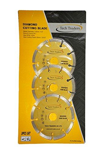 Tech Traders  3 x 115mm 4.5' Diamond Disc Cutting Blade Angle Grinder Stone Brick Concrete