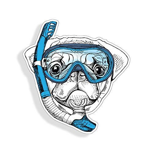 Muur Art Pug Hond Sticker Snorkel Scuba Duik Masker Huisdier Cup Laptop Auto Raam Bumper Decal Cooler Tablet Eenvoudig aan te brengen