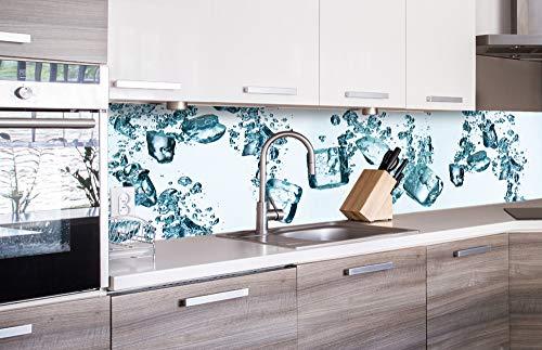 DIMEX LINE Küchenrückwand Folie selbstklebend EISWÜRFEL | Klebefolie - Dekofolie - Spritzschutz für Küche | Premium QUALITÄT - Made in EU | 260 x 60 cm