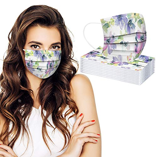 30PC Floral Printed Disposable Face_Masks for Adults 3 Layers Earloop Face Protection for Women Men Festival Party