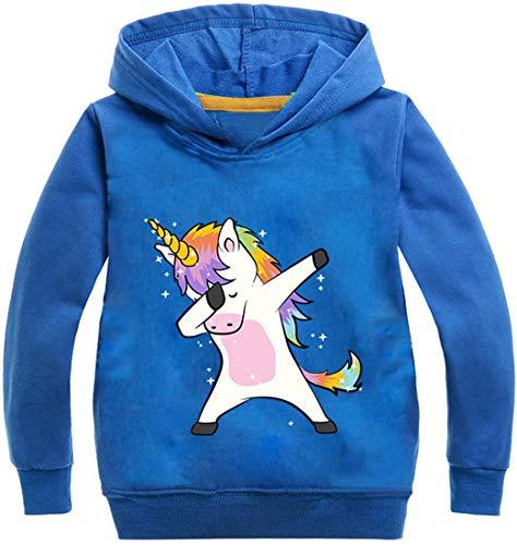 PANOZON Sudadera para Niños Niñas Impresión de Unicornio Pull-Over con Capucha Mangas largas (140, Azul135-21)
