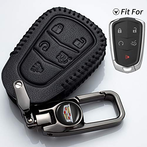 HHHH 5 Buttons Car Key Case Suit for Cadillac for 2016-2018 Cadillac CT6, 2017-2018 XT5, 2014-2018 CTS, 2015-2018 XTS SRX at,Key Cover Genuine Leather Protector Key Holder