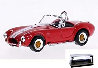 Road Signature Diecast Car w/LED Display Case - 1964 Shelby Cobra 427S/C Convertible, Red w/ Stripes 94227 - 1/43 Scale Diecast Model Car