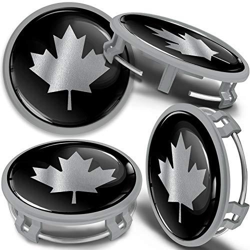 SkinoEu 4 x 75mm Tapas de Rueda de Centro Centrales Llantas Aluminio Tapacubos Compatibles con Mercedes Benz B66470207 / B66470200 Plata Gris Bandera de Canadá CMS 6