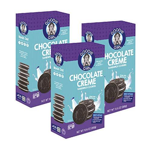 Goodie Girl, Chocolate Creme Sandwich Cookies   Gluten Free   Peanut Free   Egg Free   Kosher (10.6oz Boxes, Pack of 3)