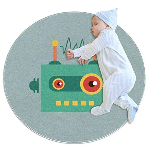 Divertido robot de dibujos animados Radios Baby Round Play Pad Crawling Mat Cojín Air-Conditioned Rug para niños niños niños pequeños dormitorio para bebé niñas sala de estar cama