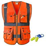 JKSafety 10 Pockets Class 2 High Visibility Zipper Front Safety Vest Orange with High Reflective Strips Meets ANSI/ISEA Standards (Orange, Medium)