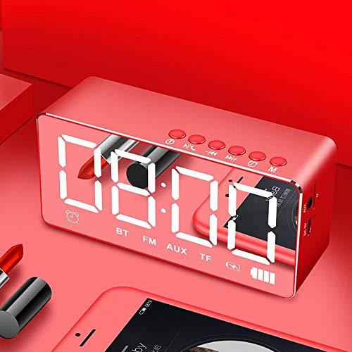FPRW Digitale wekker met LED-lampjes, met kleine stereo-luidspreker met bluetooth-spiegel en mini-radioklok met overgewicht Netto