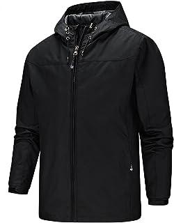 Men's Waterproof Jacket Hooded Sweatshirt Windproof Comfy Casual Outdoor Jackets Coat Lightweight Hoodies with Zip Pockets