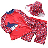 FAIRYRAIN Kinder Jungen Mädchen Kleinkinder 2-teiliges Lange Ärmel Rot Hai Schwimmanzug UPF 50+ UV...