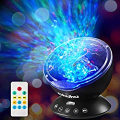 NEWEST OCEAN WAVE PROJECTOR: 12 high-end ultra bright LEDs with a rotating projector head. Baby-safe Light Projector with remote controller and touch senor key, dual-optional and more convenient for operation. Can be used to turn on/off the lamp, cha...