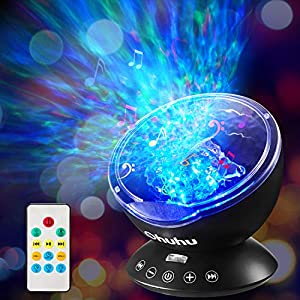 Ocean Wave Night Light Projector, Ohuhu Remote Control Projection lamp Rotation Northern Light Projector Mood Light, Upgraded 12 LED 7 Colors for Baby Nursery, Adults and Kids Perfect Gifts
