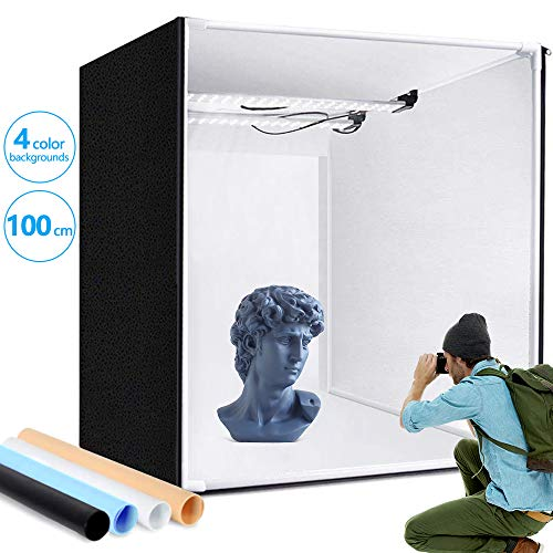 Photo Light Box, SAMTIAN 100x100x100CM Portable Folding Studio Box Professional Table Top Photography Lighting Kit 4 Colors Backdrops LED Lights Adjustable Brightness 15000lm