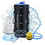 ducha portatil camper ducha solar para acampar bolsa de TPU 12L/ 20L con manguera larga extraíble bomba presión boquilla pantalla de temperatura Bolsa de baño de escalada plegable ligera al aire libre