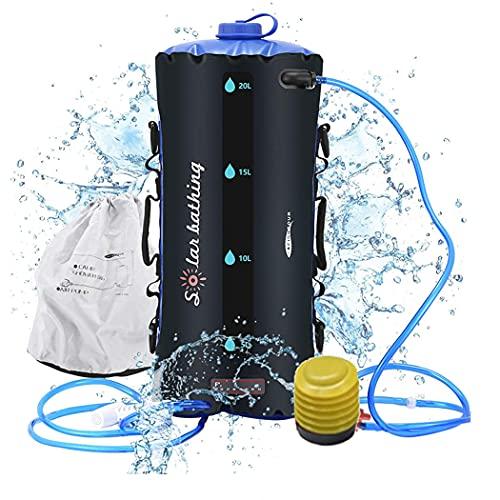 ducha portatil camper ducha solar para acampar bolsa de TPU 12L/ 20L con manguera...