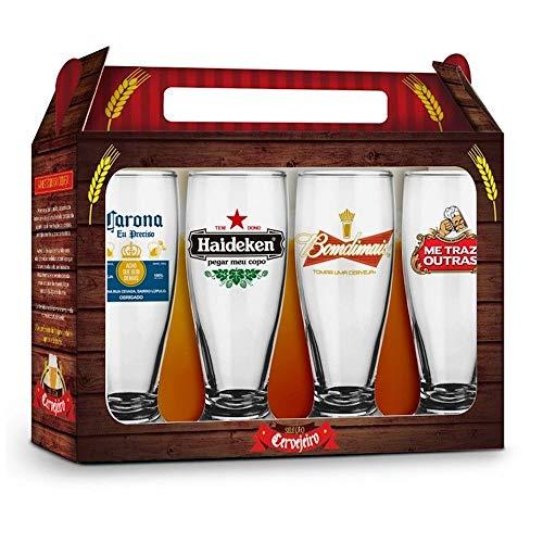 Conjunto 4 Copos Munich - Sátiras Cervejas Internacionais