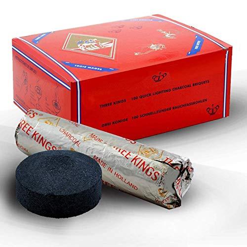 THREE KINGS HOOKAH CHARCOAL BOXES (200 Briquettes, Each 40MM)
