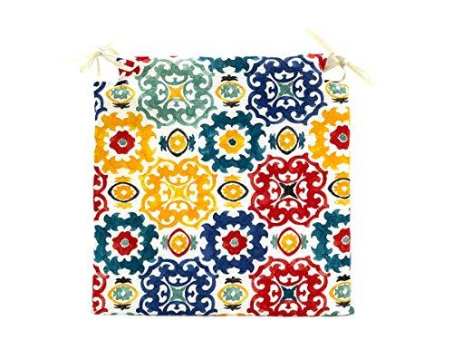 TIENDA EURASIA Pack de 4 Cojines para Sillas - Estampados Modernos - 2 Cintas de Sujeción - Ideal para Interiores y Exteriores - 40 x 40 x 3 cm (Mosaico Multi)