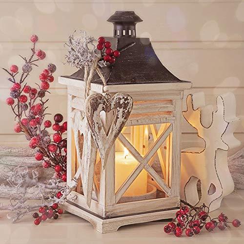 20 servetten houten lantaarn/winter/Kerstmis 33x33cm