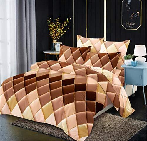 Shamdon Home Collection Ropa de cama de 220 x 240 cm, diseño geométrico, funda nórdica de microfibra, 3 piezas, funda de edredón suave con cremallera y 2 fundas de almohada de 50 x 75 cm, color marrón