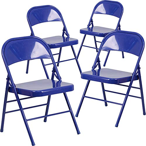 Emma + Oliver 4 Pk. Colorful Triple Braced Metal Folding Chairs (Teal)