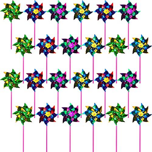 24 Stücke Folie Windmühlen für Garten Bunte Regenbogen Windrad Rasen Garten DIY Windmühle Vogel Beängstigender Windmühle Funkelnd Reflektierend Windräder für Jungen Mädchen Party Gunst