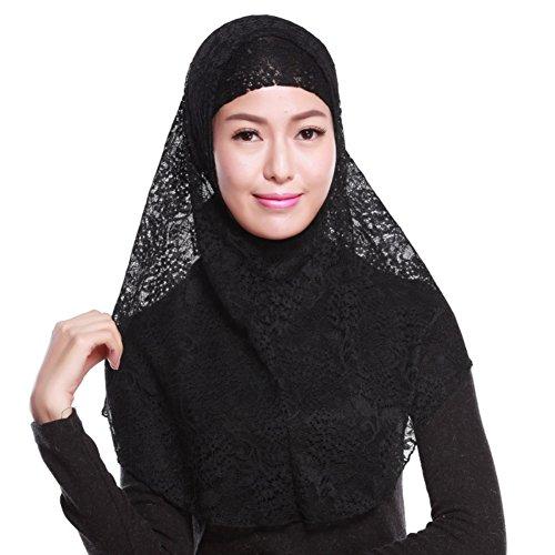 Hougood Hougood Hijab Kopftuch Muslim Hijab Schal für Damen Hijab Fertig Spitze Hijabs Schals Cape Frauen Wickeln Hijab Arabia Islam Turban Hijab Kopfbedeckung 2Pcs Sets Muslim Kopftuch + Hijab Untertuch Cap