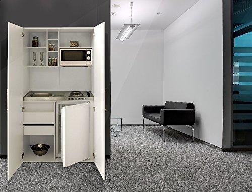 respekta Single Büro Pantry Küche Miniküche Schrankküche weiß Front weiß Ceran